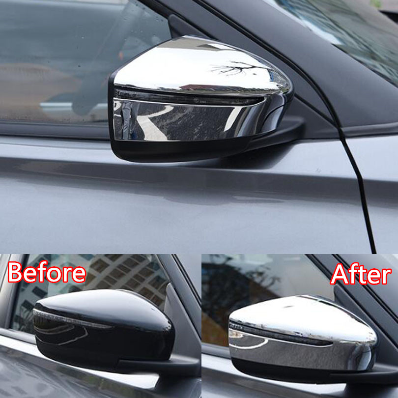 2Pcs Car Rear View Mirror Cover Car Styling Stickers For Nissan Juke 2017 ABS Exterior Car Accessories