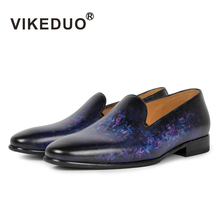 VIKEDUO Vintage Retro Men's loafer shoes  hand painted full grain leather