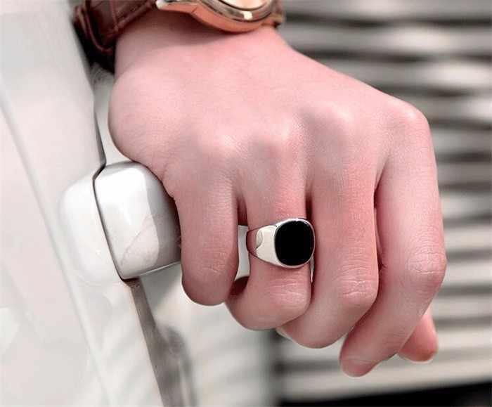 2017ล่าสุดแฟชั่นไม่เคยจาง316lสแตนเลสแหวนทองที่เต็มไปด้วยธรรมชาติสีดำนิลหินCZหมั้นแหวนแต่งงานBKJZ016