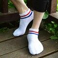 Los hombres de algodón calcetines de la raya corta de moda compacto de alta calidad hosesocks 2016 summer otoño de algodón 5 color sólido calcetines masculinos