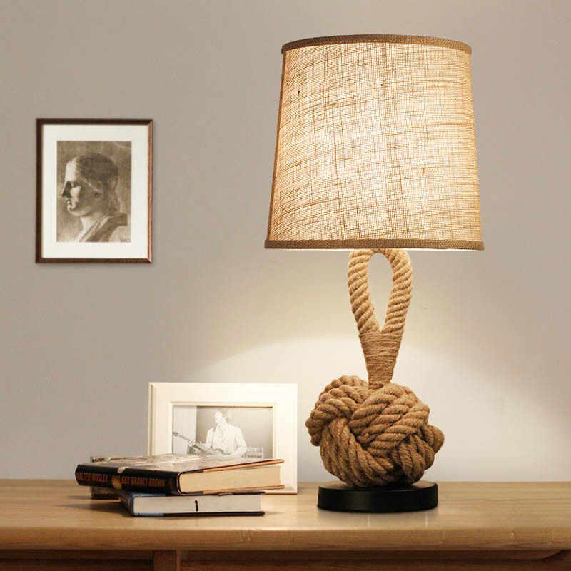 Led Ретро пеньковая веревка настольная лампа нордическая промышленная Спальня прикроватный Абажур Настольная лампа Lampara De Mesa дома сладкие настольные светильники