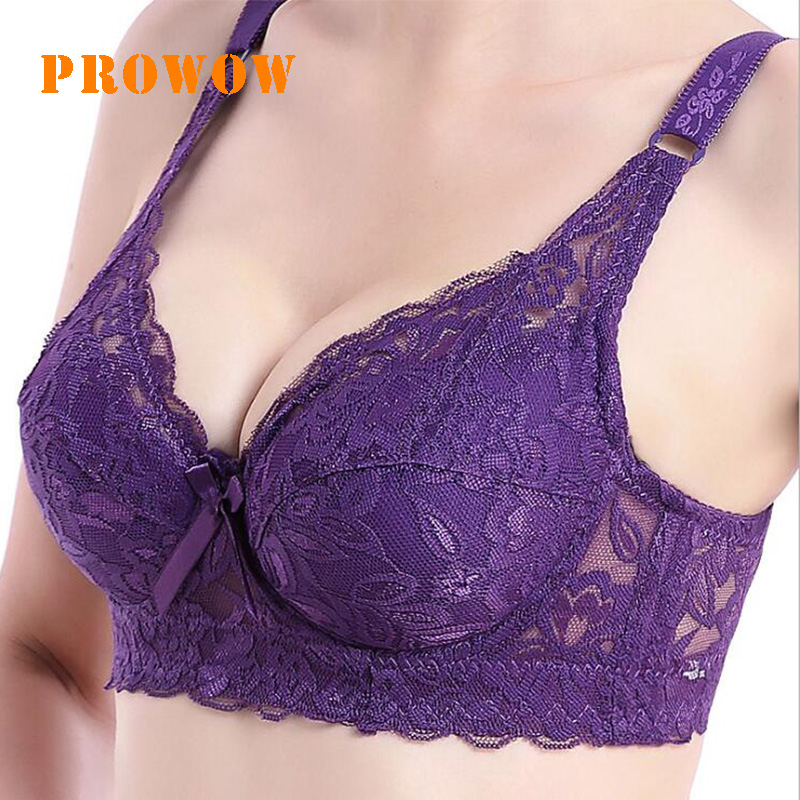 Prowow Thin Cotton Large Size Adjustable Bra Gathered With Steel Ring Sexy Underwear Ladies Bra Women 3/4 Cup Padded Lace Bra