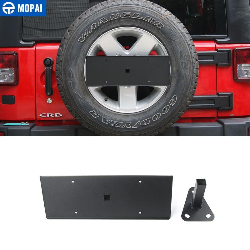 MOPAI Exterior Do Carro De Metal Traseira Cauda License Plate Bracket  Suporte Para Jeep Wrangler Pneu Sobressalente 2007 Up Acessórios Do Carro  Styling