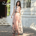 RUIYIGE 2017 женщин сексуальная мода шифон повседневный slim fit цветочные напечатаны с пояса винтаж танк summer long maxi dress Vestidos