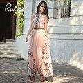 Ruiyige 2017 mujeres atractivas de la gasa de moda casual slim fit impreso floral con cinturón vintage tank summer long maxi dress vestidos
