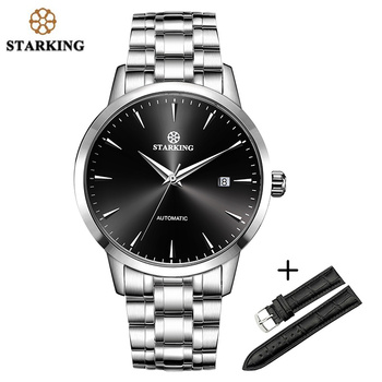 STARKING Sapphire Automatic Mechanical Watches Men Stainless Steel Leather band SET Male Wristwatches 50M Waterproof Men Watch man automatic mechanical watches burei fashion brand male luxury clock calendar sapphire steel band 50m waterproof watch mens