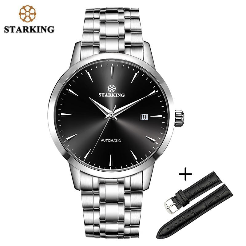 STARKING Sapphire Automatic Mechanical Watches Men Stainless Steel Leather band SET Male Wristwatches 50M Waterproof Men Watch