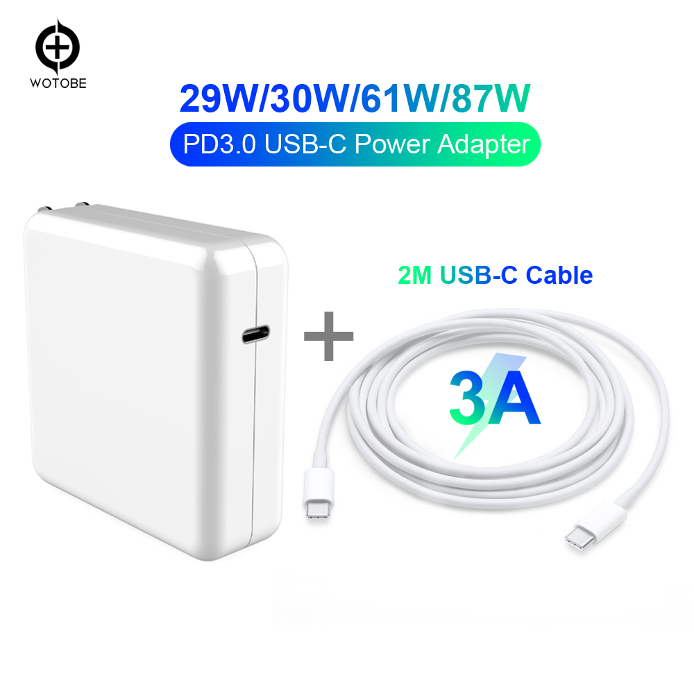 USB-C Power Adapter 29W/30W 61W 87W PD3.0/QC3.0 Charger Charger Cable For MacBook Pro/Air IPhone/iPad Pro S10(or 2m USB-C Cable)