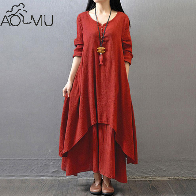 8bb1f750b1a1 AOMU 1PC 2017 New Arrival Women Peasant Ethnic Boho Cotton Linen Long  Sleeve Maxi Dress Gypsy Blouse Shirt for Women