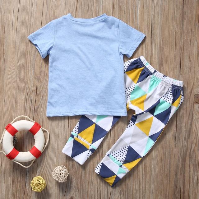Summer 2017 Newborn Baby Boy Clothes Short Sleeve Cotton T-shirt Tops +Geometric Pant 2PCS Outfit Toddler Kids Clothing Set 4