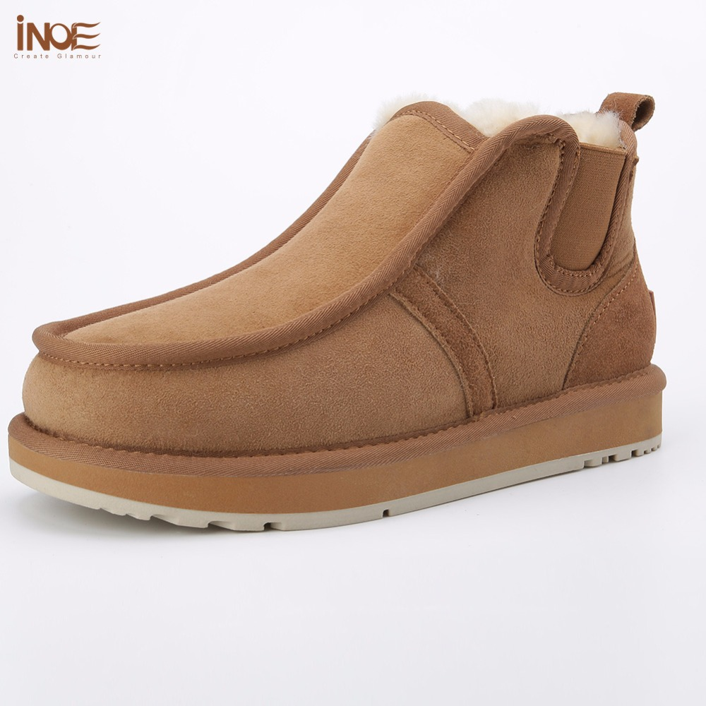 INOE fashion Beckham same style real sheepskin leather suede winter snow boots for men natural wool fur lined lazy winter shoes new 3236 men and women same styles sheepskin wool fur leather flat boat shoes shoe