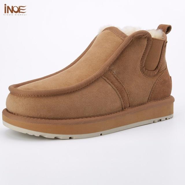 Inoe/модные Бекхэм же стиле из натуральной овечьей кожи замшевые зимние ботинки для мужчин Натуральная шерсть на меху без застежки зимняя обувь