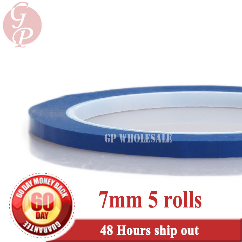 5 Rolls (7mm*66M*0.06mm) PET Anti-Flame High Temperature Insulation Adhesive Mylar Tape for Transformer Wrap Blue