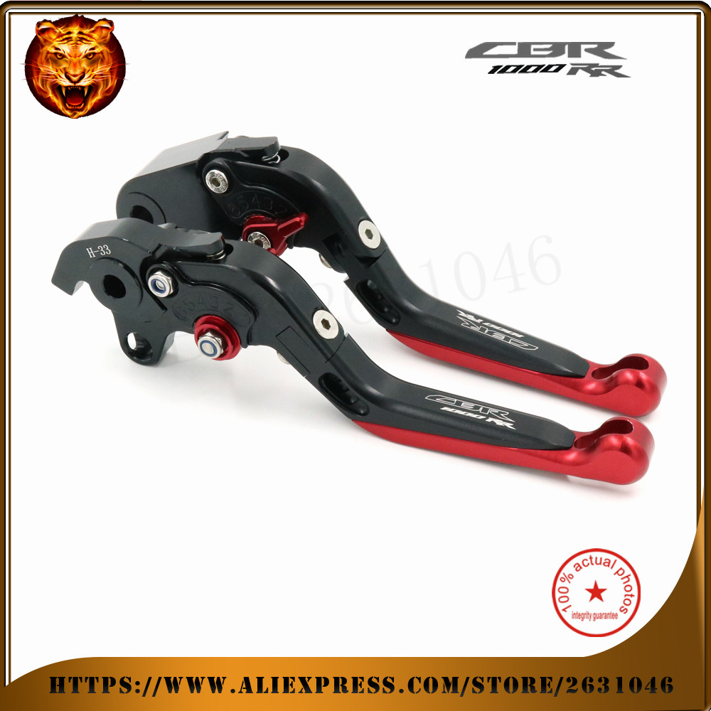 ФОТО For HONDA  CBR1000R 2008-2014 CBR1000RR 2004-2007   Black Red CNC Motorcycle Adjustable Folding Extendable Brake Clutch Lever