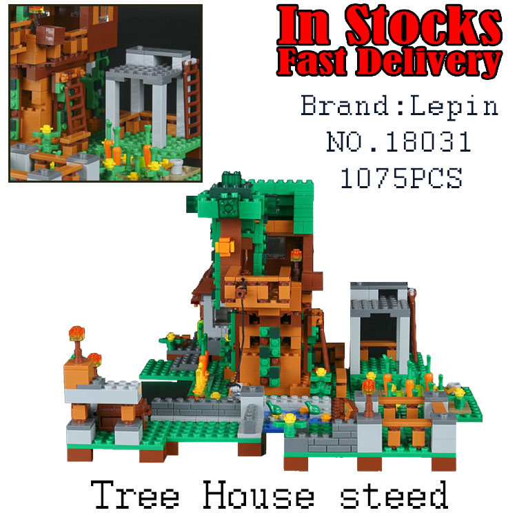 LEPIN My World Minecraft Tree House steed 18031 1075PCS Building Blocks Bricks educational toys for children Christmas gifts lepin 18003 my world series the jungle tree house model building blocks set compatible original 21125 mini toys for children