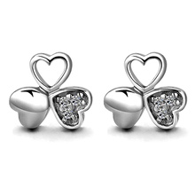 Lucky Clover Zircon Stud Earrings For Women Romantic Love Heart Shaped Brand Wedding Jewelry brincos pendientes
