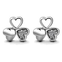 Lucky Clover Zircon Stud Earrings For Women Romantic Love Heart Shaped Brand Earrings Wedding Jewelry brincos pendientes недорого