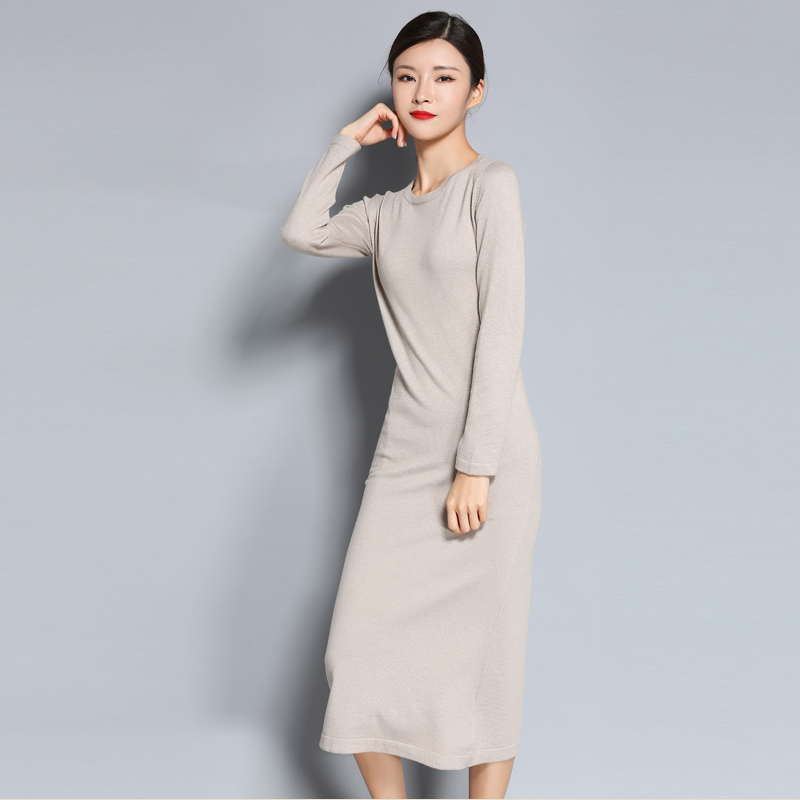 MERRILAMB Solid Color Casual Cashmere Dress Women Spring Autumn Round Neck Cashmere Blended Knitted Long Dresses Female Vestidos