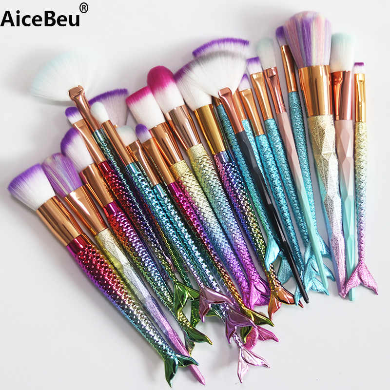 AiceBeu 1 pc Make Up Foundation Wenkbrauw Eyeliner Blush Brush Mermaid Make-Up Borstel Diamant borstel Cosmetische Concealer Tool