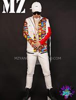 new casual fashion Men's pu leather Graffiti stitching jackets nightclub dj singers sets stage outwear costumes S 5XL