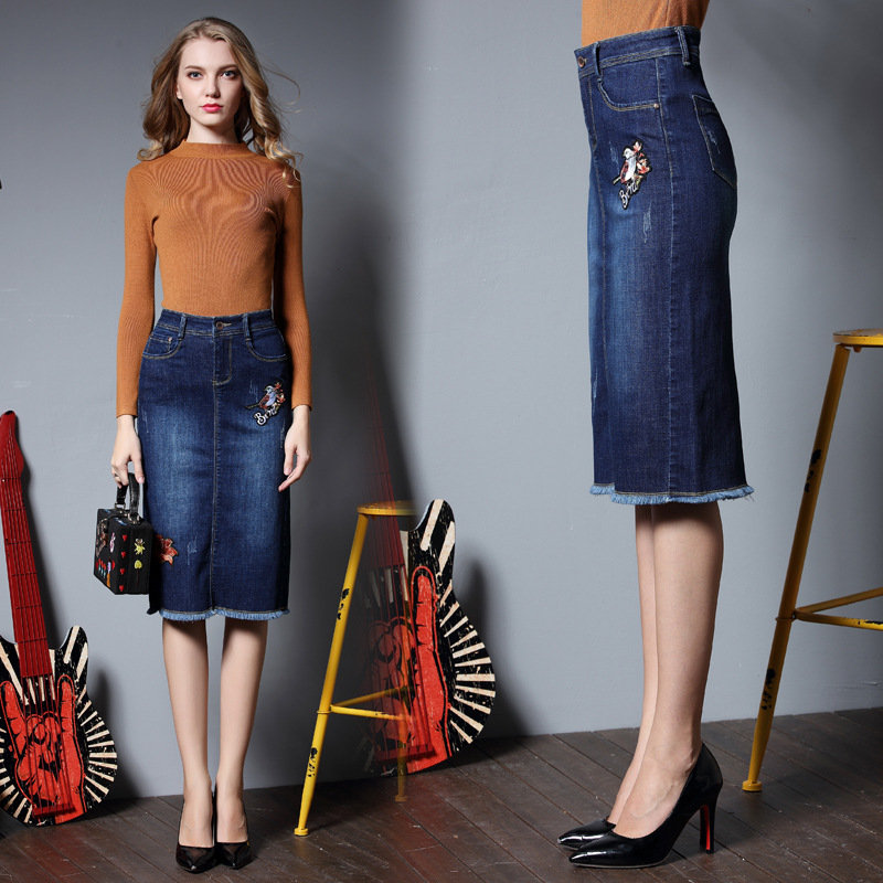 2019 Sueños Plus Verano En Saias Mujeres Azul Bordado Borla Ropa Jeans Pájaro De 4xl Falda Faldas Primavera La Tamaño Lápiz Las XOqRx