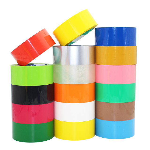 [4Y4A] 2roll colors tape 75m  red yellow blue green black and white wide tape package sealing transparent