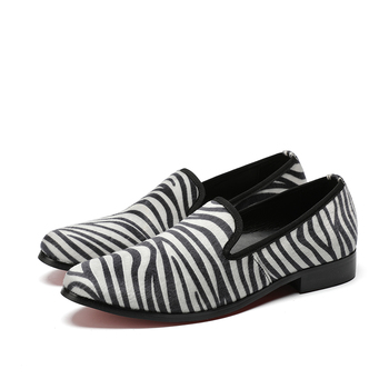 New Fashion Comfortable Zebra pattern Genuine Leather Slip-On Pointed Toe Flat Man Casual Classic Oxfords