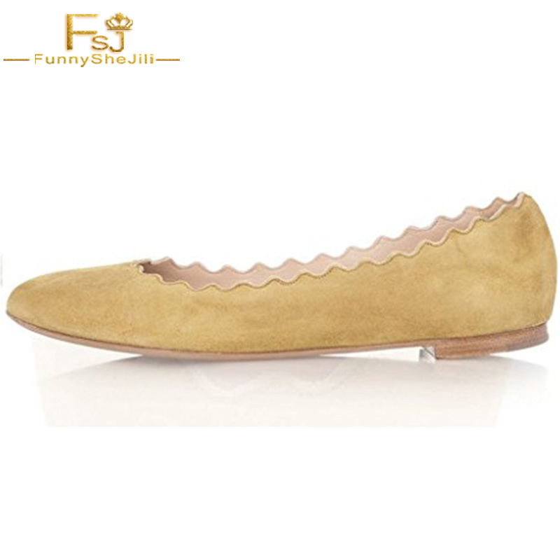 Classic Yellow Women Flock Cute Dress Shoes Scalloping Round Toe Suede Ballet Flats For Comfort Autumn Shoes Size FSJ US 16