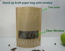 16*24cm stand up Kraft paper compound bag with window ziplock bag valve bag tea bag