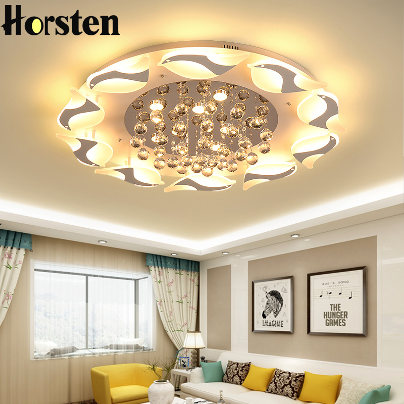 Modern Luxury Bird Crystal Ceiling Lamps With Remote Controller Dia95/75/55cm Crystal Ceiling Chandelier For Living Room Bedroom