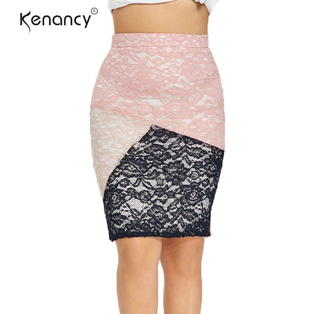 f3d0cf4b15 Kenancy Plus Size Lace Floral Tight Pencil Skirt Waistband Slim Fitting Floral  Skirt Color Block Floral Pattern Skirt 2019