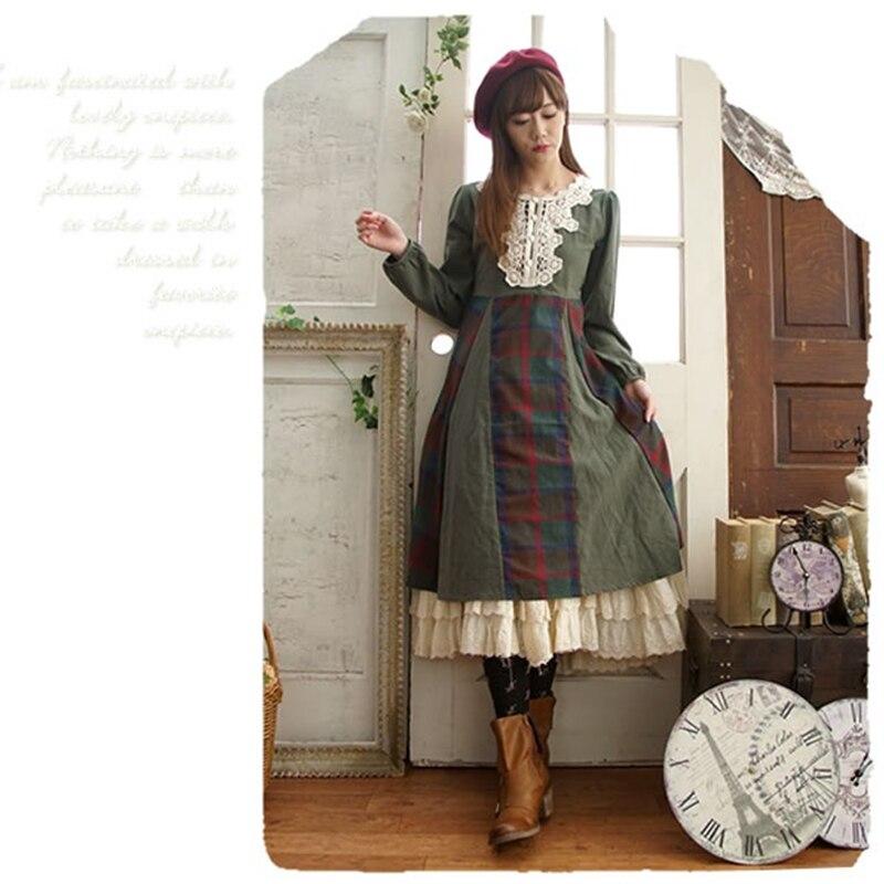 Robes Manches 2018 Femmes Lolita Patchwork Dames Mori T494 1 Femme Fleur Plaid Robe Fille Longues Color Dentelle Tricoté oWrdxBeC