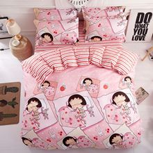 hot deal buy best luxury pink cute cartoon duvet cover flat bed sheets +pillowcase king queen full twin bedding set bedding set 3/4pcs