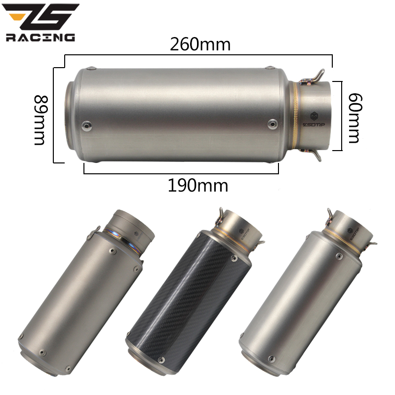ZS Racing 60mm Motorcycle Exhaust Modified Scooter SC Muffle Fit For ZX6R CBR1000 Z1000 KTM S1000 Titanium Alloy