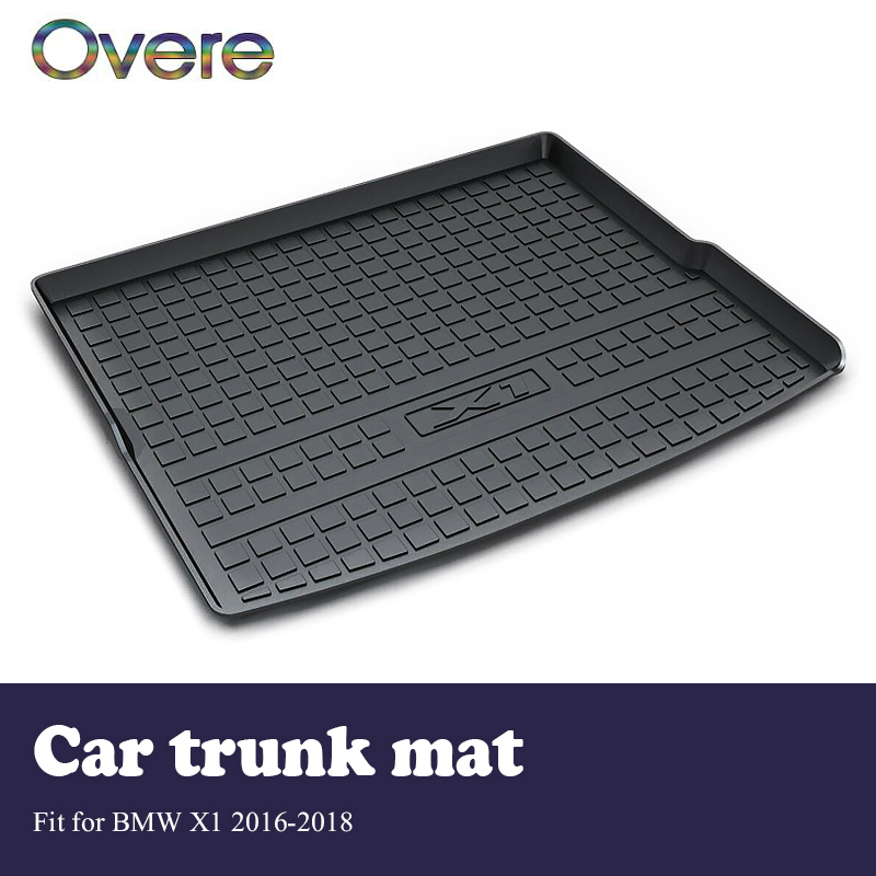 Overe 1Set Car Cargo rear trunk mat For BMW X1 F48 2016 2017 2018 Car-styling Boot Tray Anti Slip and Waterproof Mat Accessories for bmw x1 f48 2016 2017 2018 car styling accessories leather carpet interior car floor foot mat 1set