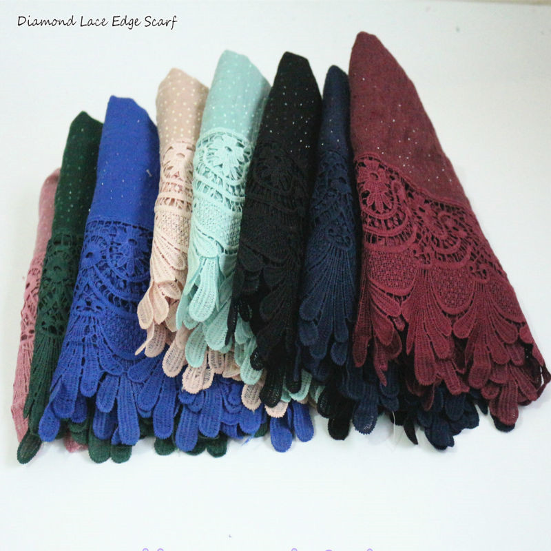 11 colors Luxury diamond cotton Fashion lace scarf hijab floral glitter beach long muslim autumn wrap scarves