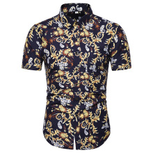 2019 Brand New Mens Short Sleeve Beach Hawaiian Shirts Summer Cotton Casual Floral Plus Size 5XL clothing Fashion
