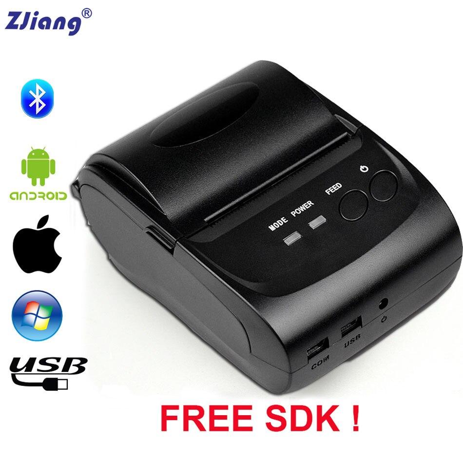 Imprimante thermique sans fil portative de Bluetooth de Zjiang POS 5802DD Mini imprimante thermique de reçu de 58mm pour l'imprimante de facture de téléphone Portable