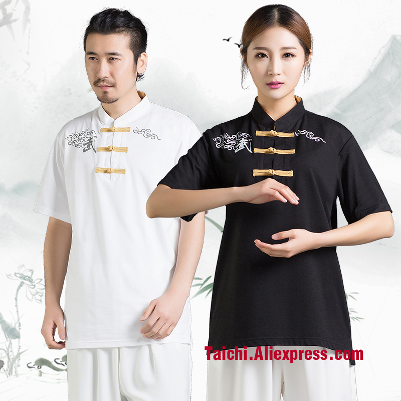 Cotton Summer New Chinese Men's Mandarin Collar T Shirt Kung Fu Shirts Tai Chi Wu Shu Top