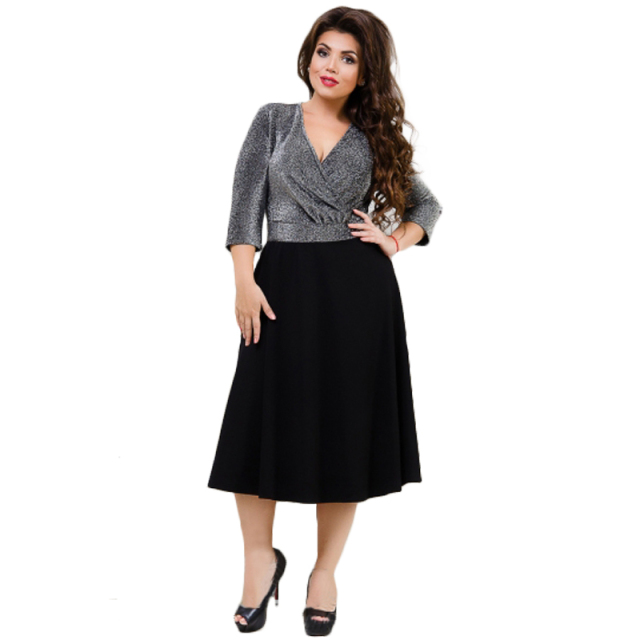 2653a24bb94 2018 Winter Dress Plus Size Women Dress Large Sparkly Christmas Party Dress  Sexy Wrapped V Neck Elegant Black Dress Vestidos