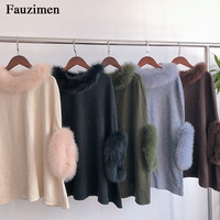 Pullover sweaters women plus size simplee wool fur autumn christmas Knitting Sweater