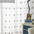 Современные белые прозрачные шторы с вышивкой в виде звезд для гостиной  спальни  кухни  тюлевые шторы для детей  занавески для дверей и окон...