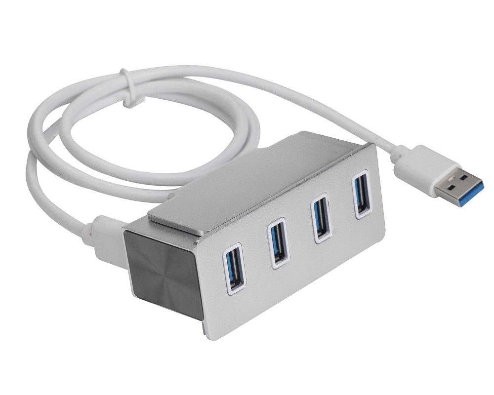 Bus-Powered USB 3.0 4-Port Compact Hub w/ Clamp, 1M USB Cable for Mac Ultrabook PC Laptop Computer Peripherals and More
