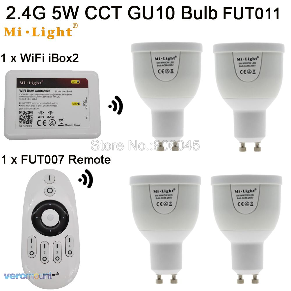 AC85-265V 2.4G Mi.light GU10 5W Color Temperature Adjustable Dual White(CW/WW) CCT LED Bulb +4-Zone RF Wireless Remote + WiFi