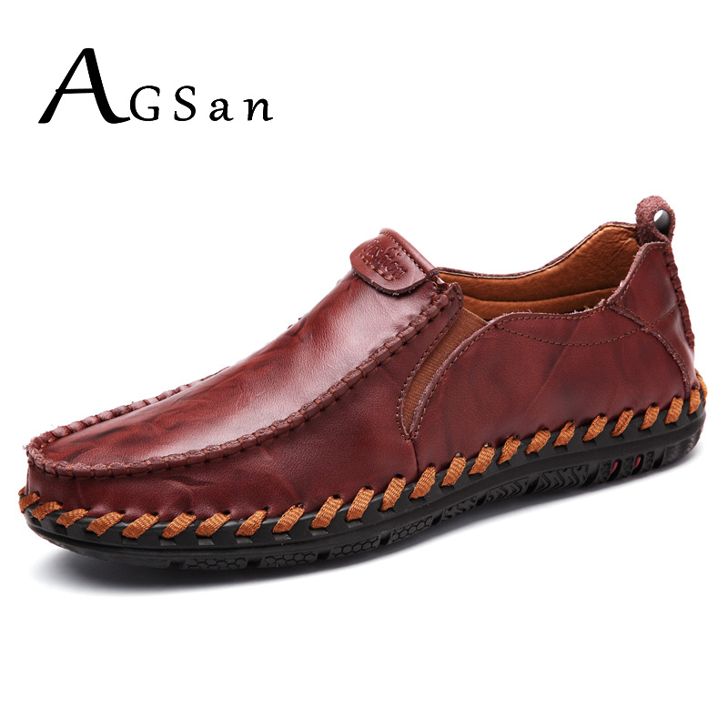 AGSan 2017 New Fashion Men Casual Shoes Slip On Mens Flat Driving Moccasins High Quality Men Loafers Autumn Leather Shoes Brown mens leather loafers new 2017 casual flat shoes men driving moccasins fashion slip on mens working flats sapatos