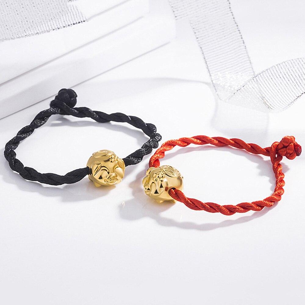 Мода свинья браслет для женщин браслет благоприятный милый ткачество год свиньи украшения для Для женщин Красный веревочный браслет