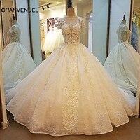 LS00015 מדהים שמפניה שמלות הכלה ציפר חזור כדור שמלת תחרת שמלות כלה תמונות אמיתיות vestidos דה noiva bruidsjurken