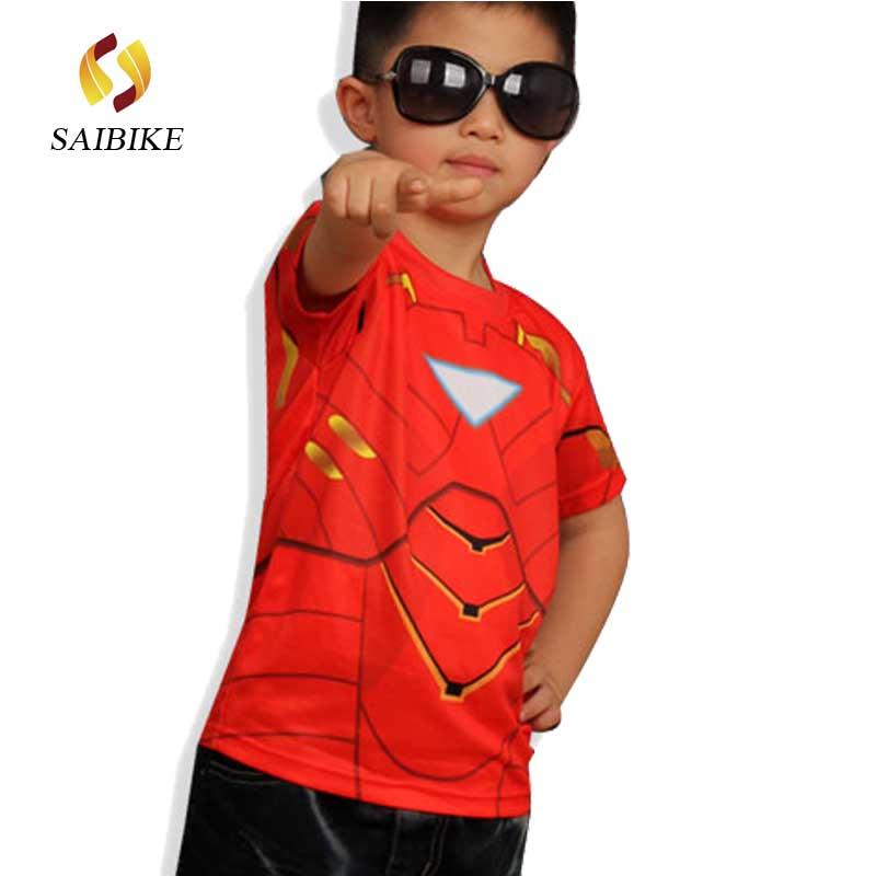 मार्वल अमेरिका सुपर हीरो साइकिलिंग स्पाइडरमैन बैटमैन सुपरमैन आयरन मैन द फ्लैश मैन किड्स & बच्चों की साइकिलिंग टीशर्ट