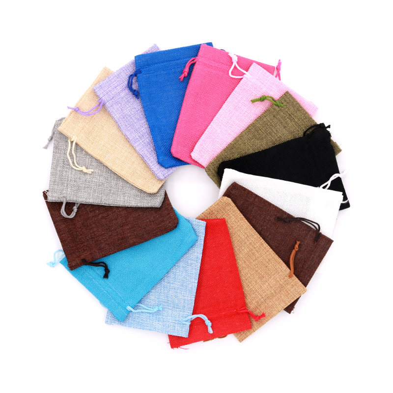 5pcs/lot Small White Jute Bags 10x14cm Cute Linen Drawstring Gift Bag Wedding Favor Sachet Storage Charms Jewelry Packaging Bags