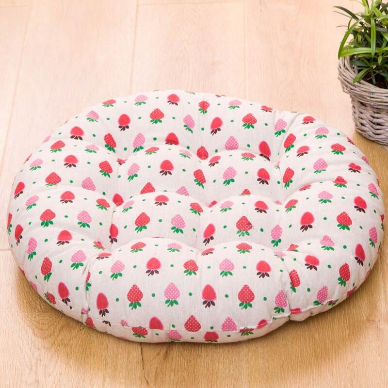 Breathable Four Seasons Chair Cushion Cotton-linen Round Seat Cushions Tatami Mat Sofa Throw Pillow Soft Button Cushion Pad 1PC